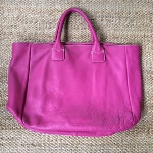 Hot pink leather tote bag